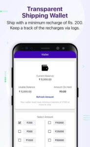 get shipping wallet and keep track of logs