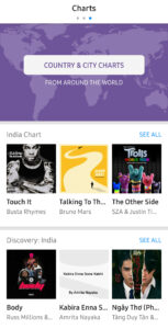 Shazam app charts page